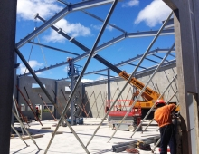 Roof steelwork with Welding and Engineering crane